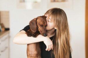 Diabetes beim Hund: Frau mit Hund im Arm